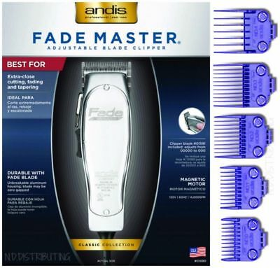 Andis Fade Master #1690 with 5 pack Nano-Silver Double Magnetic Comb Set #01410