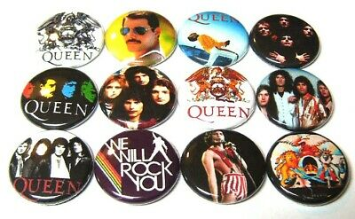 """12 QUEEN Buttons Pinbacks 1"""" Pins Badges Freddy Mercury 70s 80s Rock Band"""