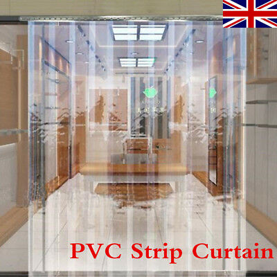 1m x 2m Clear PVC Strip Curtain Pedestrian Door Strip Stainless Steel Plate Set