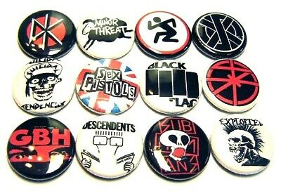 "12 1980s Punk Rock Bands ONE Inch Buttons 1"" Badges Hardcore Music 80sMosh Set#1"