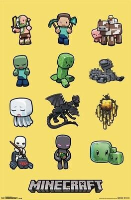 MINECRAFT ~ 12 CHARACTERS 22x34 VIDEO GAME POSTER Mine Craft NEW/ROLLED!