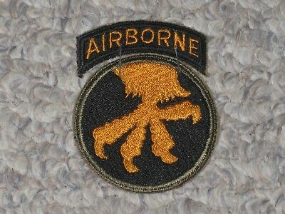 WW2 US Army 17th Airborne Division Patch with Tab WWII Cut Edge
