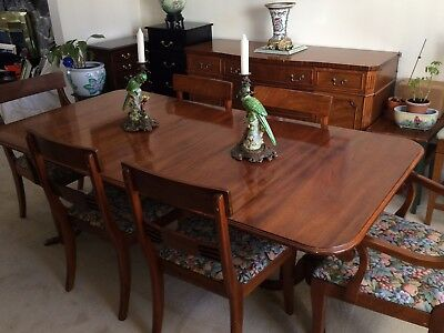 1930's Vintage Antique Philippine Mahogany Dining set China Buffet 6 Chairs + PB