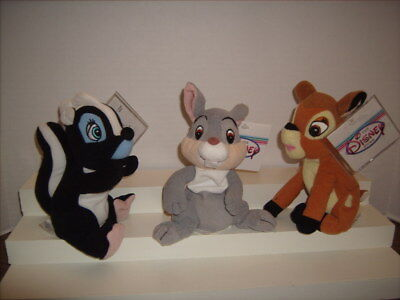 BAMBI THUMPER & FLOWER Bean Bag Plush Set NEW with TAGS & Protector Disney Store