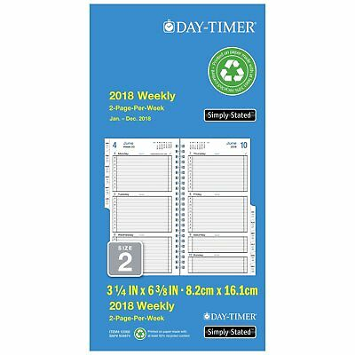 "Day-Timer Refill 2018, Two Page Per Week, January 2018 - December 2018, 3-1/2"" x"