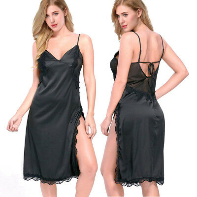 Womens Sexy Slit Silk Nightgown Full Length Night Dress Slip Dress Sleepwear