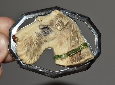 Vtg Celluloid Early Plastic Dog Pin Airedale Terrier