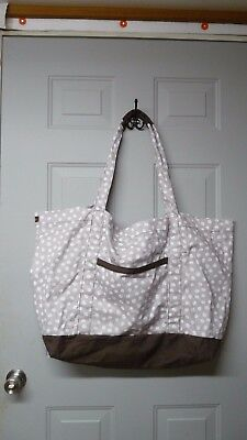 EUC Thirty One Canvas Weekender Bag Tote Taupe Brown White Lots of Dots Large