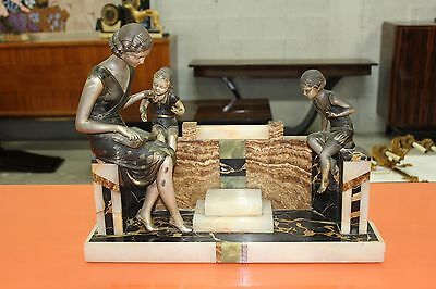 French Art Deco Girl And Two Kids Sculpture by Uriano, circa 1925