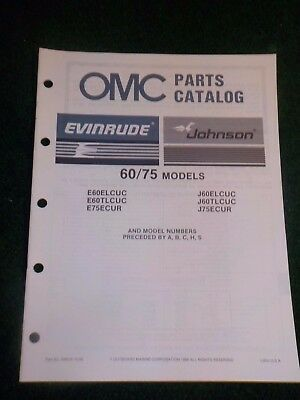 1987 OMC Johnson Evinrude Outboard Parts Catalog Manual 60 75 HP DEALER FACTORY