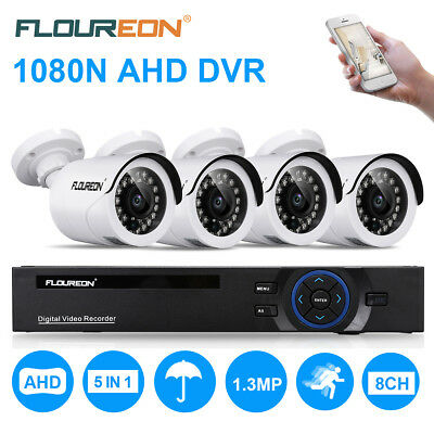 FLOUREON 8CH 1080P 1080N ONVIF AHD DVR+ 4X2000TVL 960P 1.3MP Camera Security Kit
