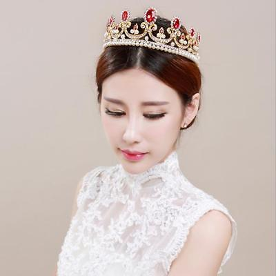 Red Rhinestone Wedding Crown Crystal Pearls Bride Tiara Headpiece Hair Accessory