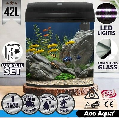 Ace Aqua 42L Aquarium Fish Tank Curved Glass Complete Set Filter Pump LED Light