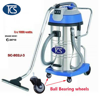TCS Commercial 80L Wet / Dry vacuum cleaner 3x1000W Ametek Motor Ball Bearing /w