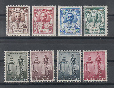 Indonesia: 1956 2 sets, 8 stamps.MUH.Scarce items. Going cheap