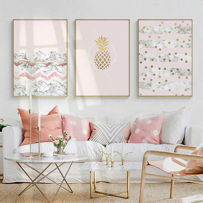 Pineapple Marble Canvas Nordic Poster Abstract Wall Art Print Modern Home Decor