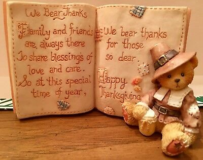 Thanksgiving Cherished Teddies Blessing Book & Figurine Priscilla Hillman Enesco