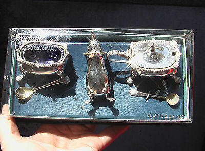 Salt And Pepper Shakers.  Sterling Silver Plate.  Muffineer Set.  Fine Dining.
