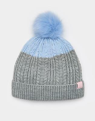1eb176ff6d0 Joules Girls Bobble Hat with Faux Fur Pom Pom and Fleece Lining in Grey Marl