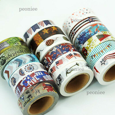 USA theme Washi Paper Masking Tape DIY Craft Scrapbook Gift Wrap Home Decor