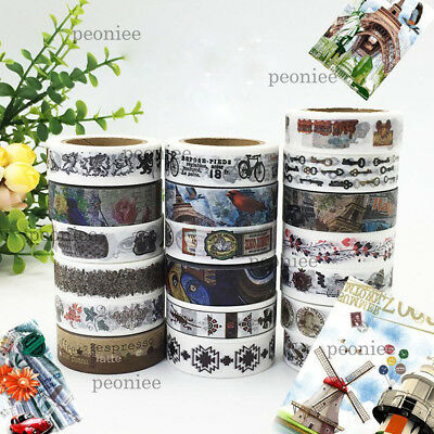 Vintage style Washi Paper Masking Tape DIY Craft Scrapbook Gift Wrap Home Decor