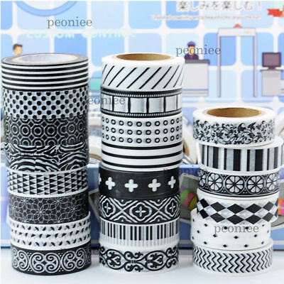 Black & white Washi Paper Masking Tape DIY Craft Scrapbook Gift Wrap Home Decor