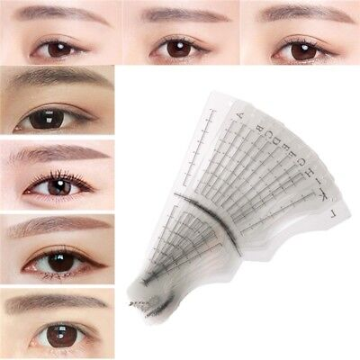 12x Draw Eyebrow Tool Ruler Measuring Brow Template Stencil Makeup Supply Tattoo