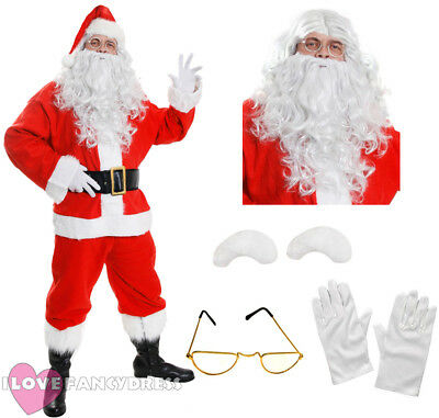 Deluxe 10 Piece Santa Claus Suit Plush Father Christmas Costume Xmas Fancy Dress