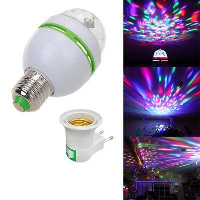 3W E27 RGB Crystal Ball Auto Rotating LED Stage Light Bulb Disco Party Lamp Plug