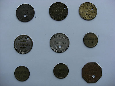 9 Different Newhey Liberal Club Tokens 1d - 4d (Rochdale Oldham Milnrow)