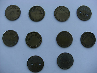 10 Vintage Tokens Clown 1d - 4d