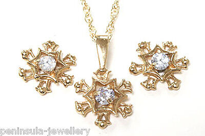 9ct Gold Lilac CZ Snowflake Pendant and Earring Set Made in UK Gift Boxed