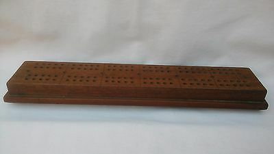 VINTAGE RARE WOODEN 1940,s LARGER CRIBBAGE BOARD WITH GREAT COLOUR PATINA,15INCH