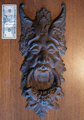 Huge Antique Cast Iron Victorian? Door Knocker. Horned Satyr, Devil, Demon? 21""