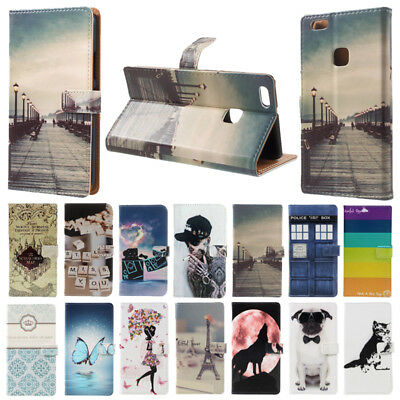 For Huawei P9 Lite 2017 P10 Lite Luxury Flip Painted Wallet Leather Case Cover
