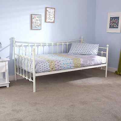 New Milano Metal Day Bed With Trundle Ivory Sprung Slats Base Cheapest On !!