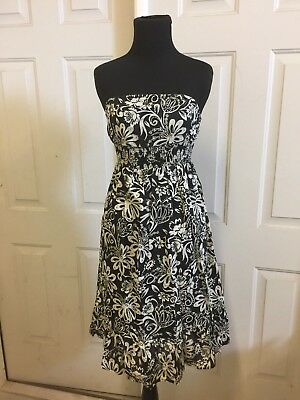 50343ad2b1f78 Charlotte Russe - womens size 7 Black and white floral slip dress - babydoll