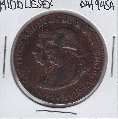 1790's Great Britain Middlesex National Series Halfpenny Conder Token D&H-945A