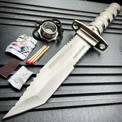 "11"" Tactical Fishing Hunting CAMPING Knife FIXED BLADE Bowie + Survival Kit NEW"