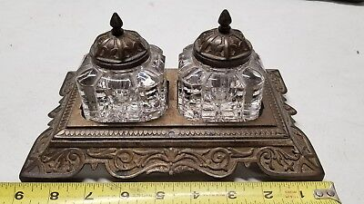 Antique VICTORIAN Heavy cast metal and Glass Double Inkwell Ornate 1878