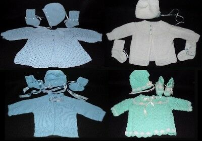 Handmade Knit Crochet Baby Set Sweater Hat Booties Boy Girl Blue Ivory Green 3pc