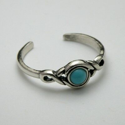 Solid 925 Sterling Silver Toe Ring / Midi Ring Turquoise Stone Ladies + Gift Bag