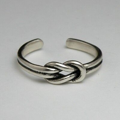 Solid 925 Sterling Silver Toe Ring Knot Design Oxidised Ladies New with Gift Bag