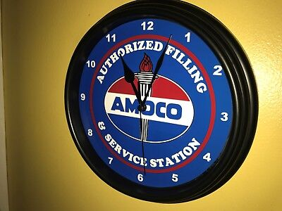 Amoco Oil Gas Service Station Mechanic Garage Man Cave Wall Clock Sign