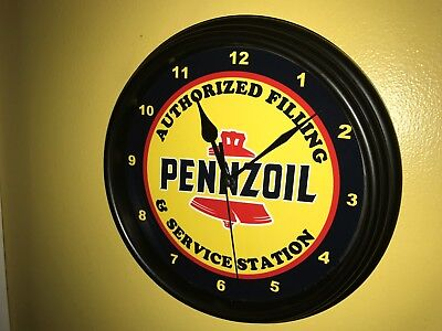 Pennzoil Oil Gas Service Station Mechanic Garage Man Cave Wall Clock Sign