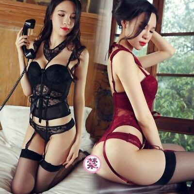 Sexy Lady Lingerie Lace Corset Bustier Underwear Set G-string Fancy Dress Outfit