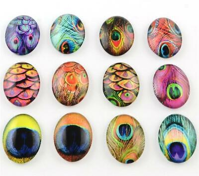10 x OVAL PEACOCK FEATHER PRINTED CLEAR GLASS DOMED CABOCHONS 25mm X 18mm