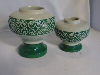 Pair of German Salt Vases - Lion's Head Decoration - Green and Gray
