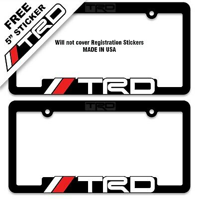 2 TRD License Plate Frames Toyota Racing Development Tacoma Tundra 4Runner Acces