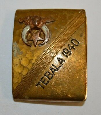 Vintage Freemasons The Shriners TEBALA 1940 Brass Slim Small Belt Buckle Rare